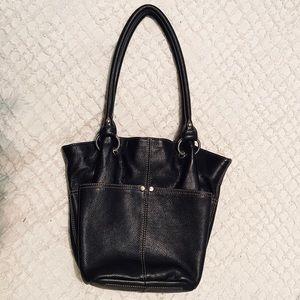 Tignanello Black Leather Pebble Bucket Tote Bag